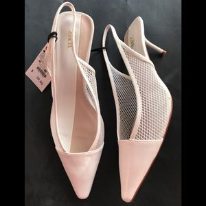 ZARA HEELS SHOES WHITE MESH WITH LONG STRAPS